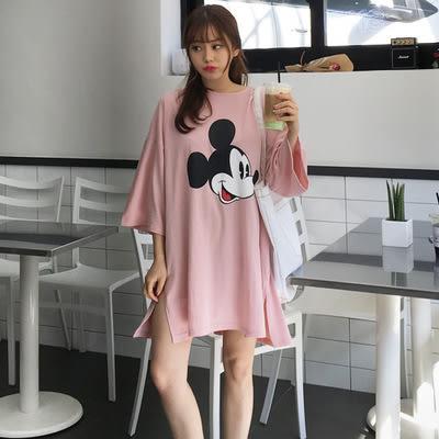 【預購】卡通純色寬鬆休閒側開叉連身裙 上衣 3色 G40672