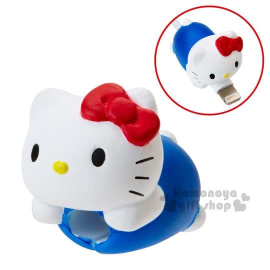 〔小禮堂〕Hello Kitty 造型傳輸線保護套《紅白.趴姿》充電線.iPhone線套 4901610-81791