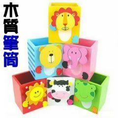 木質卡通動物便籤夾筆筒 收納筒 文具用品 兒童禮物-艾發現