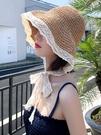 遮陽帽 帽子女夏季新款2021網紅蕾絲系帶草帽2021春秋時尚沙灘防曬遮陽帽寶貝計畫 上新