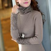 秋裝女上衣長袖修身淑女蕾絲拼接堆堆領毛衣針織衫打底衫 巴黎時尚