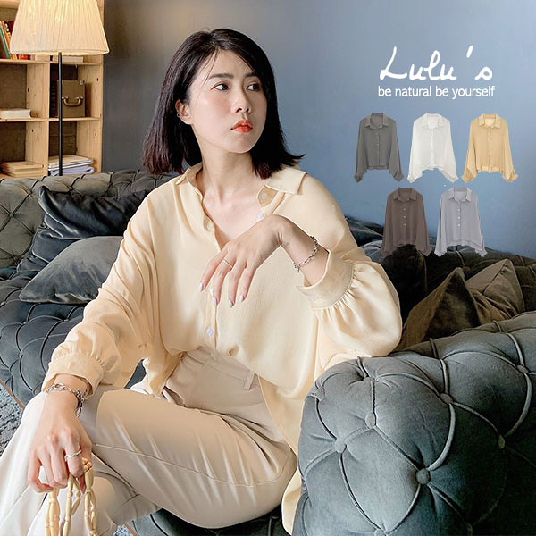 LULUS【A01200494】C連袖寬鬆襯衫5色