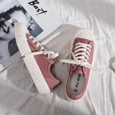 帆布鞋女潮鞋加絨新款韓版百搭學生秋季餅干鞋復古低幫板鞋子