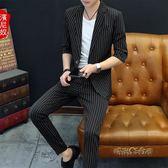 中袖西服韓版新款套裝男士外套青年七分袖夏季個性潮流小西裝薄男「時尚彩虹屋」