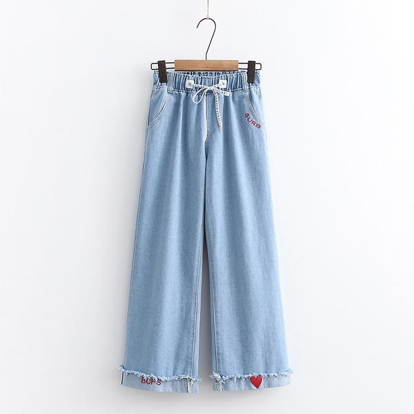 *ORead*韓版學院風鬆緊腰寬鬆休閒直筒闊腿褲(淺藍色S~2XL)