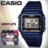 CASIO手錶專賣店 卡西歐 W-215H-2A 數字錶 深藍 中性錶 方形 防水50米 LED背光照明 膠質錶帶