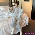 冬季新款加絨加厚時尚兩件套睡衣女學生『Sweet家居』