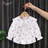 女童白襯衫薄款夏洋氣小女孩長袖純棉嬰兒上衣寶寶兒童娃娃衫襯衣 嬌糖小屋