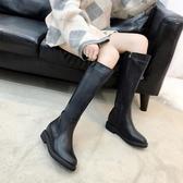 中筒靴 網紅騎士靴子女新款不過膝長筒靴女平底英倫皮靴高筒中靴  polygirl