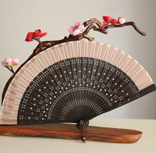 月亮扇 出口日式折扇6寸女扇夏季攜帶扇子禮品扇滿天星星 附扇套