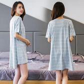 哺乳睡裙夏喂奶衣孕婦連衣裙月子服夏季純棉產后外出睡衣夏季薄春