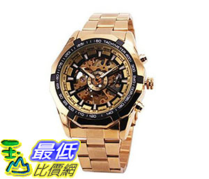[美國直購] 手錶 RUSSIAN SKELETON Luxury Mens Automatic Mechancial Wrist Watch Golden Strap Black Dial