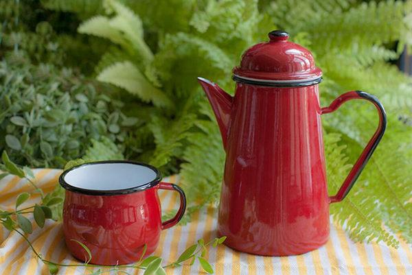 琺瑯杯 馬克杯 水杯 咖啡杯 可可杯 Emalia Olkusz波蘭琺瑯曲線杯-粉藍(350ml) 里和家居 Riho