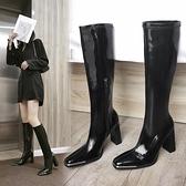黑色長筒靴 馬丁靴女2021新款網紅方頭漆皮靴子高筒粗跟不過膝彈力高跟鞋 百分百
