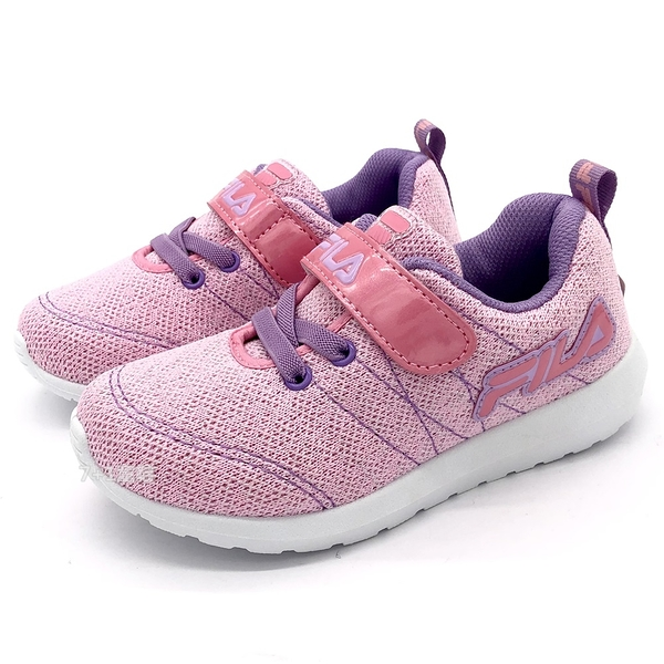 《7+1童鞋》FILA 2-J424U-599 魔鬼氈 編織 透氣 輕量 運動鞋 4268 粉色