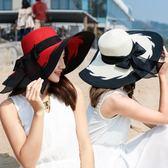 女夏天沙灘遮陽防曬可折疊海邊太陽帽子出游大沿遮陽帽 LL132『美鞋公社』