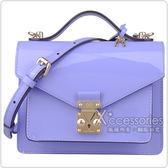 LV M90113  漆皮扣式手提斜背小方包淡紫