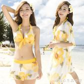 韓國泳衣女三件套比基尼分體裙式保守遮肚小胸聚攏性感泡溫泉游泳 糖糖日系森女屋