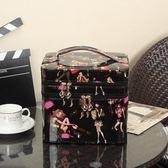 化妝箱 韓國雙層軟妹大容量多功能特大號雙層手提便攜防水化妝箱 KB2896【野之旅】TW