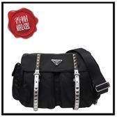 PRADA鉚釘尼龍斜背包/銀帶/大款 黑色1BD119全新商品