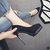 高跟鞋 春秋OL職業顯瘦黑色尖頭高跟鞋12cm細跟性感夜店絨面防水台單鞋女 交換禮物