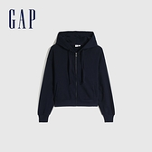 Gap女裝 時尚刷毛休閒連帽休閒上衣 766815-海軍藍
