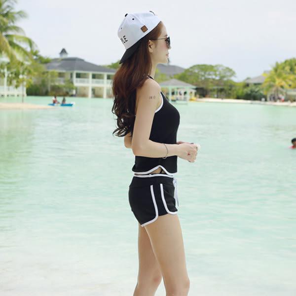 二件式泳裝 運動款工字挖背背心+抽繩撞色平口短褲泳衣套裝 艾爾莎【TAJ5073】