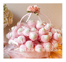 幸福朵朵【義大利草莓造型大棉花糖x50支+小提籃x1個】二次進場/送客喜糖/生日/畢業/來店禮