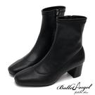 短靴  原色質感方頭中跟短靴(黑) *BalletAngel【18-138-11bk】【現+預】