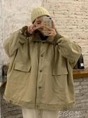 鋪棉外套 冬季新款仿羊羔毛寬松復古工裝BF風情侶款加厚長袖棉服外套女 3C公社