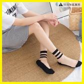 襪子女夏中筒玻璃絲襪潮襪防滑條紋卡絲襪
