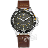 TIMEX 天美時 / TXTW4B15100 / 遠征系列 太陽能電力 礦石強化玻璃 日期視窗 真皮手錶 灰黑x咖啡 43mm