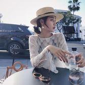 涼感女裝裝新款潮寬鬆喇叭袖上衣鏤空透視針織打底衫女長袖T恤 【店內再反618好康兩天】