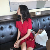 新年鉅惠車厘子紅法式復古修身顯瘦短袖中長款襯衫連身裙新款夏短裙 芥末原創