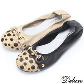 【Deluxe】全真皮質感豹紋骷顱頭扣環平底娃娃鞋(黑☆米棕)