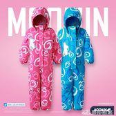 童裝冬新女兒童連體滑雪服女沖鋒衣戶外出棉服防風防水