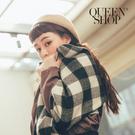 Queen Shop【07010414】黑白格子毛呢圍巾*現+預*