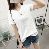 2018夏季新款純白色短袖t恤女竹節棉麻韓版學生簡約寬鬆半袖上衣 森活雜貨