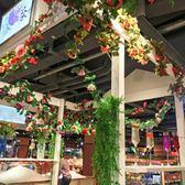 仿真玫瑰花藤壁掛吊頂裝飾塑料藤蔓