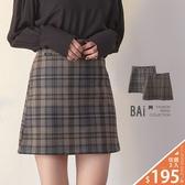 褲裙 微彈性呢料格紋小布標後拉鍊短裙M-L號-BAi白媽媽【301863】