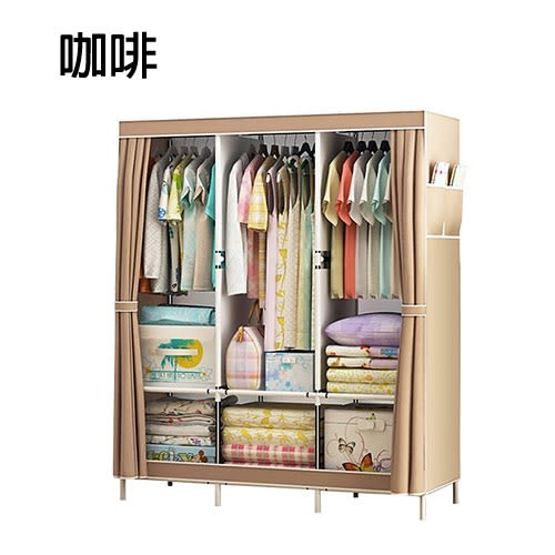 組合式衣櫥 簡易衣櫃 大衣櫥 寬130公分DIY布衣櫃 大容量收納架 現貨【VENCEDOR】
