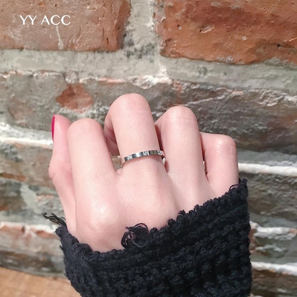 冷淡風簡約極簡網紅18k玫瑰金鈦鋼極細水鑽鋯石戒指女不掉色