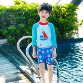 兒童泳衣男童分體大中小童泳褲套裝青少年可愛卡通寶寶學生游泳衣