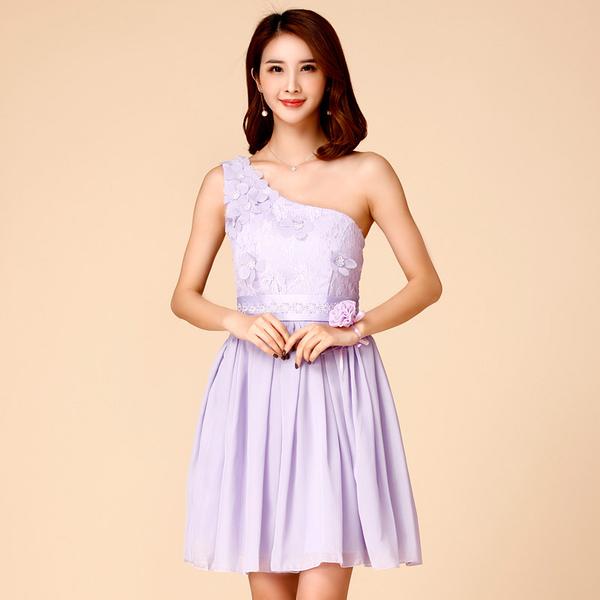 單肩氣質優雅花朵蕾絲雪紡伴娘短禮服宴會禮服~美之札