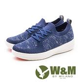 W&M  MODARE襪套式 飛線編織厚底女鞋-藍(另有粉)