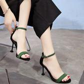 2018夏季新品正韓百搭高跟鞋女中跟細跟黑色工作鞋金屬扣露趾涼鞋 雙11大促