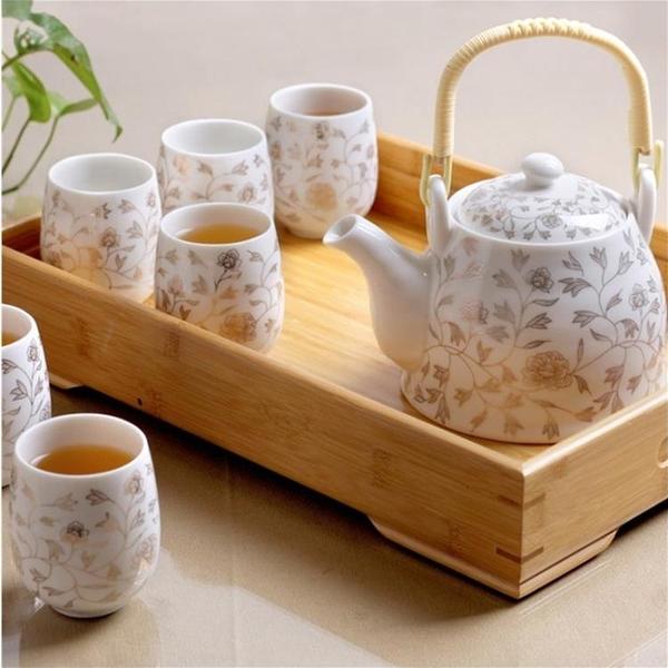 7個裝陶瓷茶具套裝家用整套功夫現代茶壺茶杯子【聚寶屋】