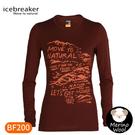 【Icebreaker 女 Oasis 圓領長袖上衣BF200《天然山徑/酒紅》】0A59KU/內層衣/薄長袖/內著