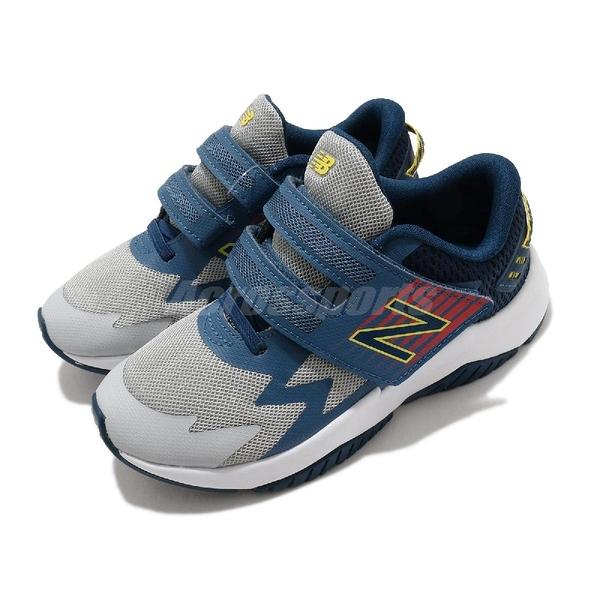 New Balance 慢跑鞋 Rave Run Wide 灰 藍 寬楦頭 童鞋 中童鞋 魔鬼氈 【ACS】 PTRAVBG1W