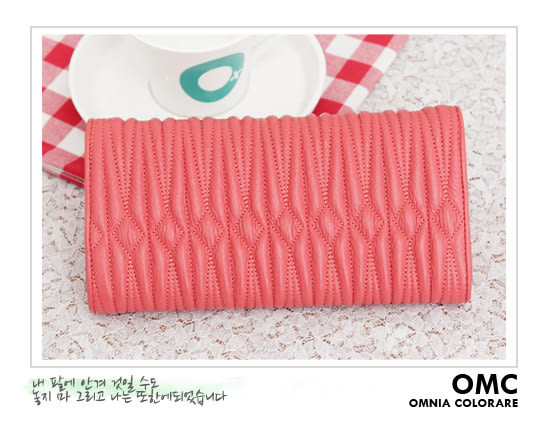 OMC - 專櫃立體抓皺質感真皮長夾 - 水嫩粉